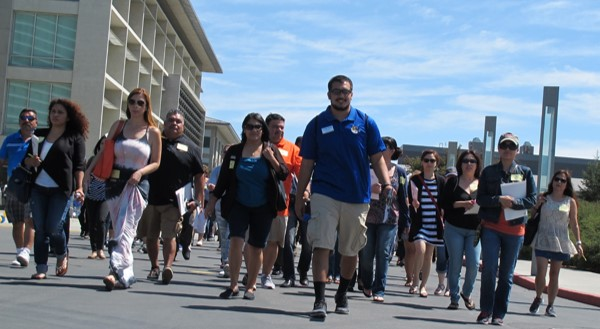 UC Merced staff with parents and guests attending new student orientation